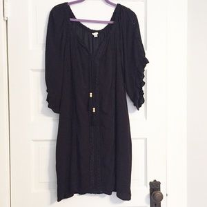 Cato EUC Black Gauze & Eyelet Summer Dress - L/XL